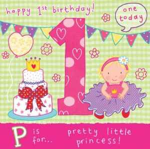 Age 1 Princess Birthday Card TW051